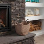 Modern yet cozy - the Bentley collection from Marquis gas fireplaces featured in brick/stone frame
