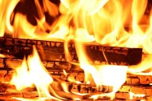 Real wood-burning in a fireplace from Burning Log in Ottawa