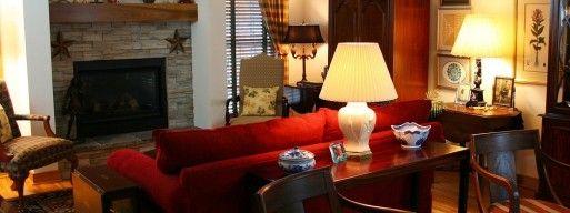 fireplace doors in cozy living room