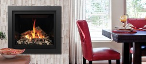 The finest gas fireplace flush to the wall and featured in an Ottawa dining room
