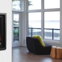 Simple and elegant gas fireplace from Marquis - featured in a living space overlooking the Rideau river