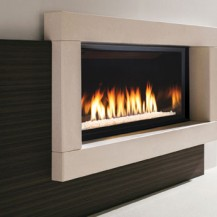 Small and elegant Infinite series gas fireplace from Marquis - featured in an Ottawa family room