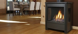 Gas fireplace from Marquis - the Vantage collection in an Ontario cottage