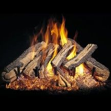 Campfire style wood pile - with gas flames