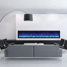 Long electric fireplace from Amantii, with bright blue-flames. Featured in a corporate waiting room in Ottawa