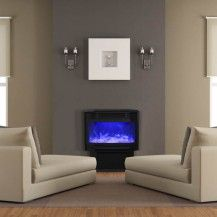 Amantii electric fireplace with blue flames - in the middle of an Ottawa reading room.