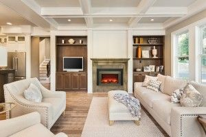 Wonderfully neutral living space centered around a cozy Amantii electric fireplace
