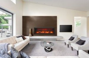 Wonderful Ottawa family room with a long electric fireplace from Amantii