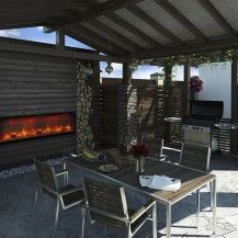 Incredible outdoor electric fireplace from Amantii - 3D Ottawa backyard