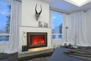 Relaxing view of an Amantii electric fireplace in an Ottawa house