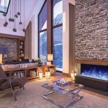 3D rendered Ottawa house with a 3-sided Amantii electric fireplace