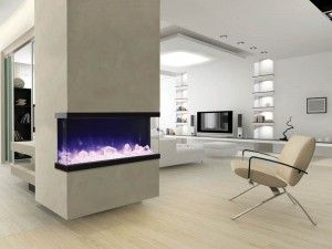 3-sided electric fireplace inset in a column of an Ottawa Home