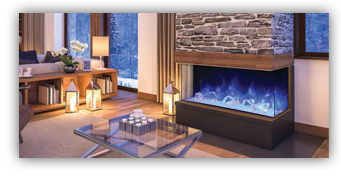 Gorgeous blue-flame electric fireplace from Amantii - buy one here at The Burning Log