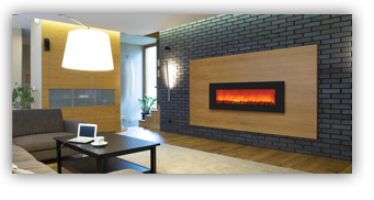 Beautiful horizontal Electric Fireplace from Amantii - Shown in an elegant Ottawa home
