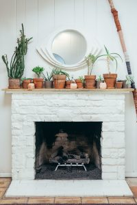 White Fireplace mantle with plants