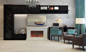 modern living room with blue chairs and an electric fireplace