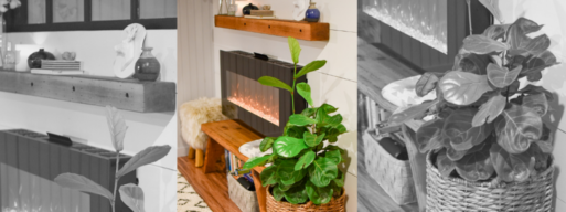Wall mounted electric fireplace with natural, green designs around it