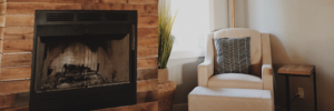 brick fireplace with newly upgraded fire insert