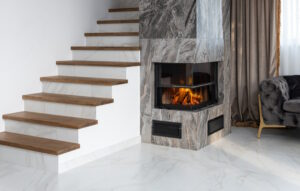 3D fireplace surrounded by marble stone